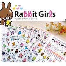 6 Sheet Kawaii Rabbit Girl Color Deco Stickers DIY Diary Scrapbook Decal Craft