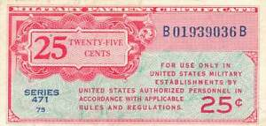 United States MPC 25 Cents Series 471