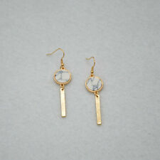 Fashion Gold Plated White Turquoise Disc Drop/Dangle Earrings