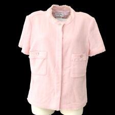 CHANEL 08C #42 CC Logos Button Collarless Short Sleeve Jacket Pink AK45004