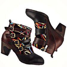 L' Artiste Leather Ankle Boot Black Brown Spring Step Redding Size 42 US 10.5-11