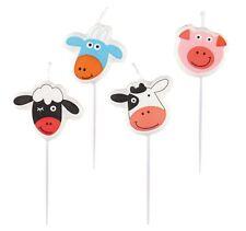 4 Farm Fun Pick Birthday Cake Candles Farmyard Animals Sheep Cow Pig