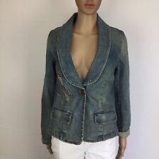JAG Denim Women's Jacket One Button Embellished Flap Pockets Size 10 (BF4)