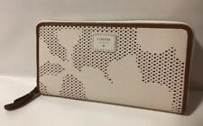 NWT FOSSIL Tessa Coconut Perforated Leather Zip Around Clutch SWL1329146 $65