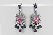 AMETHYST /& TURQUOISE STUDDED EARRINGS IN 925 STERLING SILVER SE041005 PEARL