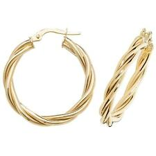 Pair of 9ct Yellow Gold 50mm Diameter Twisted Hoop Earrings Weight 4.0g Hallmarked kdoqppk