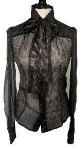 Dolce & Gabbana Grey Black Animal Print Silk Blouse Pussy Bow Shirt 42 8 10