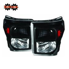 11-16 Ford F250 F350 Super Duty Black Housing Headlights w/Amber Reflector ADM