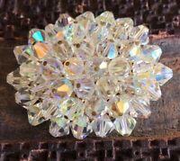 "Vintage Aurora Borealis Crystal Cluster Beaded Brooch Pin 2.25"""