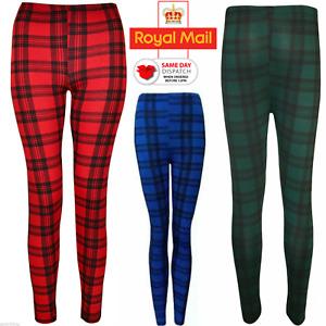 Womens Ladies Check Tartan Print Ladies Full Length Printed Leggings Pants New