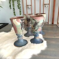 Multicolored Ceramic Pottery Wine Goblets Set Beautiful Decor Small Planters