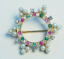 with pearls, diamond, sapphire and ruby Vintage Solid 14K Yellow Gold Brooch pin