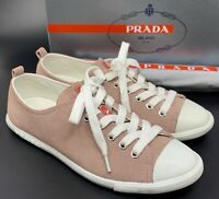Authentic PRADA Logo Low Top Sneakers Athletic Shoes #37 US 6.5 Suede Rank AB+