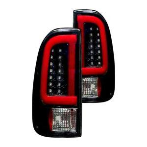 Recon Black/Smoke Fiber Optic LED Tail Lights for 99-07 Ford F-250 / 350 & More