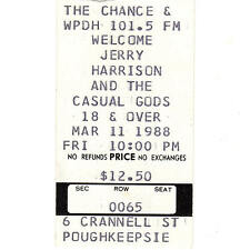 Jerry Harrison Concert Ticket Stub Poughkeepsie Ny 3/11/88 The Talking Heads