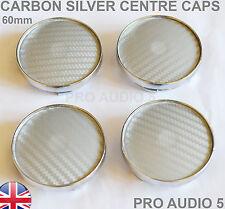 4x 60mm Carbon Silver Centre Caps Wheel Universal Fits Seat fabia Saab V W Van