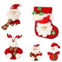 5x Plush Christmas Xmas Tree Decoration Hanging Ornament - Santa & Reindeer