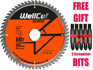 WellCut TCT Saw Blade 160mm x 60T x 20mm Bore Suitable For Festool - TS55 HK55