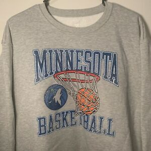 Minnesota Timberwolves Fanatics Gray Crew Neck Sweatshirt Vintage Retro Look XXL