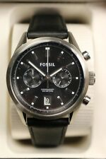 FOSSIL Del Rey Chronograph Black Dial Leather Quartz Watch in Box CH2972 NOS