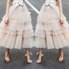 Women Girls Long Tulle Skirt Vintage Pleated Tutu Petticoat Ball Gown Skirts CA