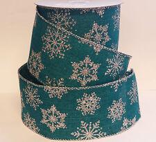 1m x Teal Silver Snowflake Wide Ribbon Christmas Cake Gisela Graham Vintage