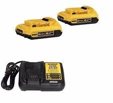 (2) NEW DeWalt 20V XR DCB203 2.0 AH 20Volt Max Batteries & (1) DCB113 Charger NR
