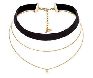 Fiorelli Fashion Gold Plated Chain & Black Velvet Crystal Charm Choker Necklace