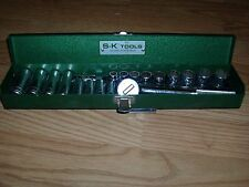 "Vintage SK 3/8"" Drive Ratchet & Sockets SAE 21 Piece Set In S-K Metal Box"