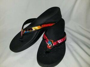 Vionic Wedge Platform Flip Flop  Arch Support Size 9 black &  multicolor