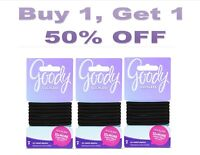 GOODY OUCHLESS No Metal Hair Ties Elastics Pony Tail 21 Count Black