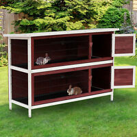 2-Tier Elevated Rabbit Hutch Bunny Cage Wooden Small Animal Habitat w/ Tray