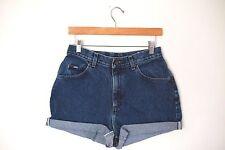 Vintage Lee Dark Wash High Waisted Rise Cut Offs Cuffed Jean Denim Shorts 28