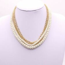 Women Multi-layer Pearl Statement Necklace Gold Chain 5 Layers