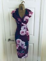 QUIZ Red Wine Floral V Neck Evening Bodycon Occasion Midi Wiggle Dress £35 BNWT