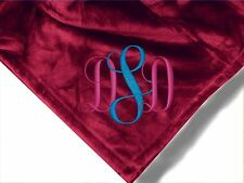 Personalized Monogrammed Throw Blanket w/ Embroidery initials