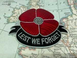 Lest We Forget Red Poppy Grille Car Badge  ALUM