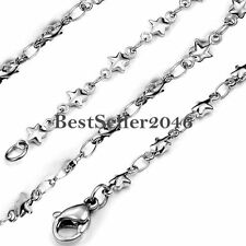 Stainless Steel Unisex Star & Rolo O Link Chain Necklace 22 Inch Silver
