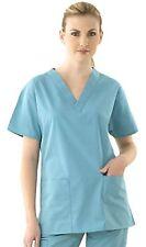 NEW SCRUB TOP Nursing Medical Uniform Womens Mens Unisex Large Blue A101