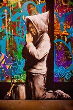 "Stained Glass Window- Boy Praying- Graffiti by Banksy  24""x36"" Canvas Street Art"