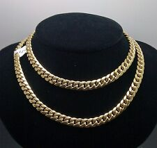 "10K Yellow Gold Miami Cuban Link Chain 8mm, 30"" Franco, Rope, Italian"
