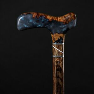 Blue Alexandrite Wooden Cane - Beautiful Hand Crafted Walking Stick for Gift