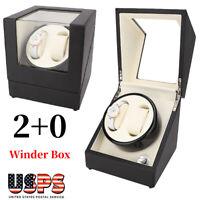 2+0 Beige Automatic Motor Rotation Watch Winder Watch Storage Display Case Box