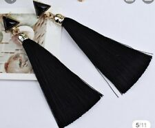 Boho Festival Party Boutique Uk Black Luxury Long Tassel Fashion Earring