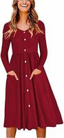 OUGES Women's V Neck Button Down Skater Dress with Pockets, Wine, Size Medium 4Z