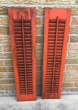 """Red Shutters Wood 32"""" x 7.5"""" Architectural Salvage Pair Vintage Shabby"""