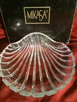 """Crystal Clam Scallop Shell Dish Platter Hand Cut Glass Leaded 7"""" Heavy Unmarked"""