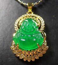 Gold Plate Green JADE Pendant Buddha God Necklace Diamond Imitation 289209 US