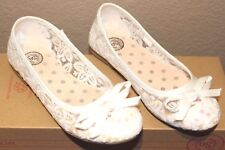 SO Daisy Girl's WHITE Lace Sparkle Ballet Flats Dress Shoes Girl Size 1 NEW