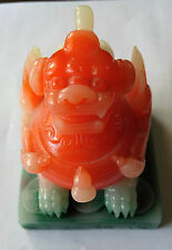 VINTAGE CHINESE FOO DOG DYED STONE STAMP SEAL